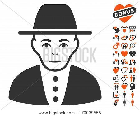 Jew pictograph with bonus lovely clip art. Vector illustration style is flat iconic elements for web design app user interfaces.