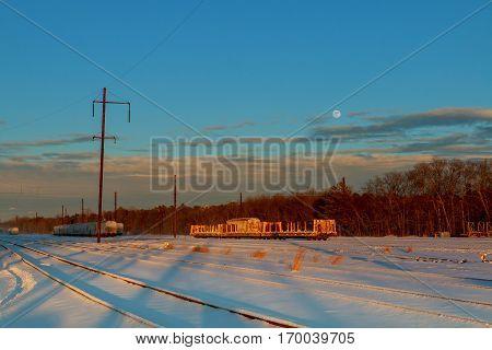 rail landscape. snowing sky clouds road Train winter