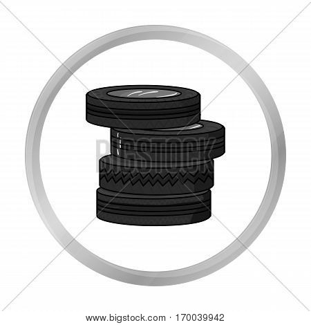 Barricade from tires icon in outline design isolated on white background. Paintball symbol stock vector illustration.