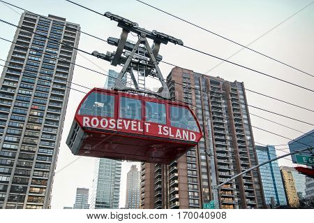 New York, February 6, 2017: One of the two Roosevelt Island Tram gondolas is traveling in the direction of Manhattan.