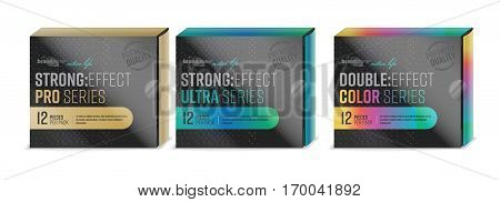 Condom packaging design isolated on white background. Vector carton packaging template.