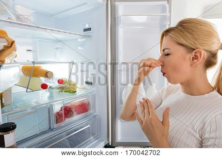 Close-up Of Young Woman Recognized Bad Smell Coming From The Refrigerator