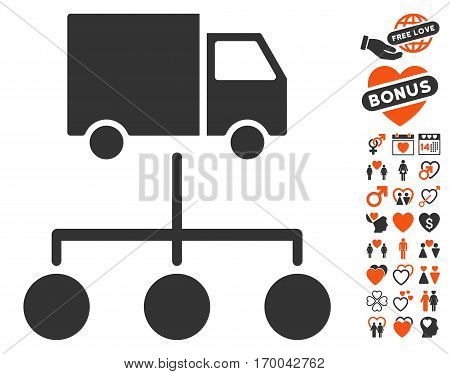 Lorry Distribution Scheme pictograph with bonus marriage pictograms. Vector illustration style is flat iconic elements for web design app user interfaces.