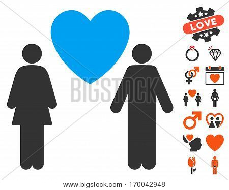 Love Couple icon with bonus lovely pictures. Vector illustration style is flat iconic elements for web design app user interfaces.