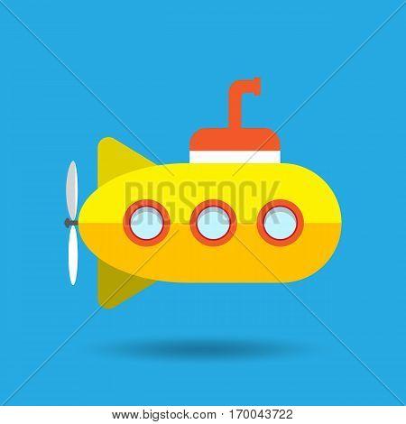 Yellow Submarine on Blue Background Vector Illustration