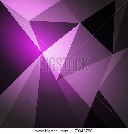 Low poly design element on purple gradient background, stock vector