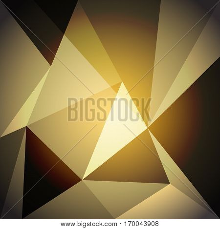 Low poly design element on gold gradient background, stock vector
