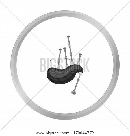Bagpipes icon in monochrome style isolated on white background. Musical instruments symbol vector illustration