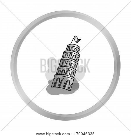 Tower of Pisa in Italy icon in monochrome style isolated on white background. Italy country symbol vector illustration.