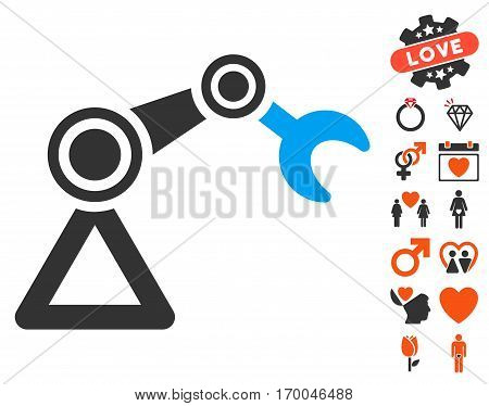 Manipulator Equipment pictograph with bonus marriage symbols. Vector illustration style is flat iconic elements for web design app user interfaces.