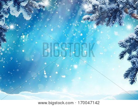 Merry Christmas and happy New Year greeting card with copy-space.Winter landscape with snow and fir trees