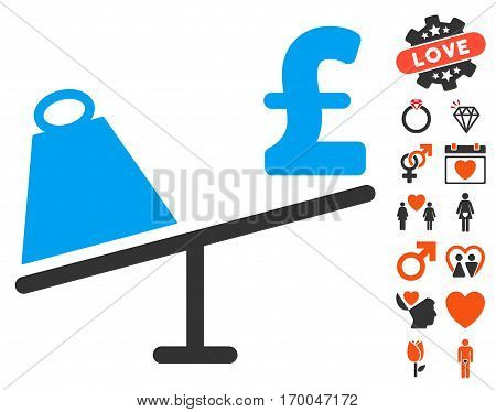 Market Pound Price Swing pictograph with bonus marriage graphic icons. Vector illustration style is flat iconic symbols for web design app user interfaces.