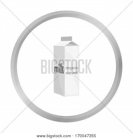 Milk gable top carton package icon in monochrome style isolated on white background. Milk product and sweet symbol vector illustration.