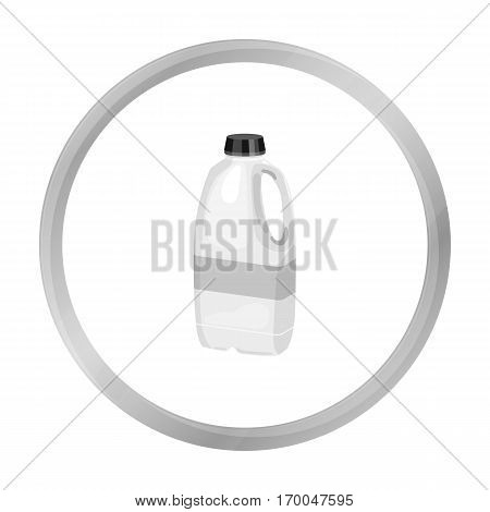 Gallon plastic milk bottle icon in monochrome style isolated on white background. Milk product and sweet symbol vector illustration.