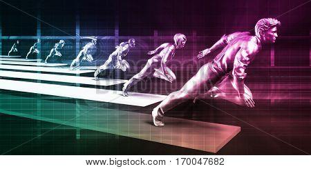 Leading the Way in a Corporate Business Team 3D Illustration Render