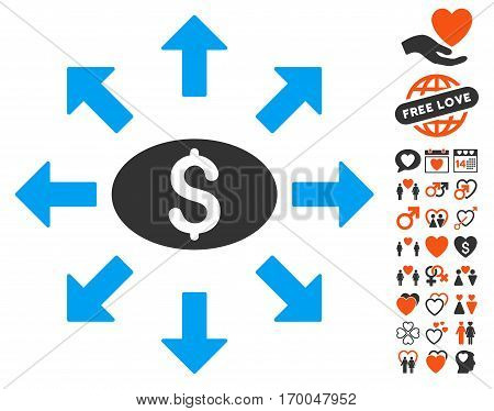 Mass Cashout icon with bonus marriage graphic icons. Vector illustration style is flat iconic symbols for web design app user interfaces.