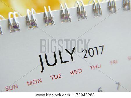 Close up calendar of July 2017