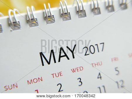 Close up calendar of May 2017