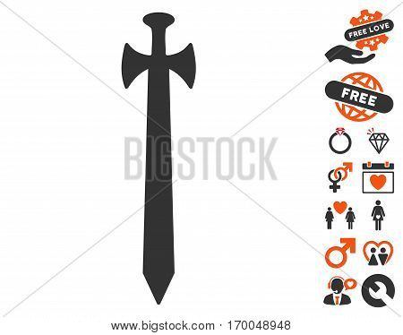 Medieval Sword icon with bonus valentine graphic icons. Vector illustration style is flat iconic elements for web design app user interfaces.