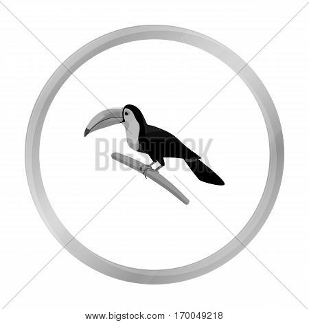Mexican keel-billed toucan icon in monochrome style isolated on white background. Mexico country symbol vector illustration.
