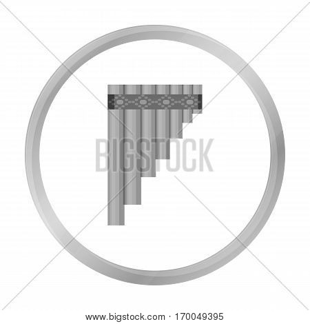 Mexican pan flute icon in monochrome style isolated on white background. Mexico country symbol vector illustration.