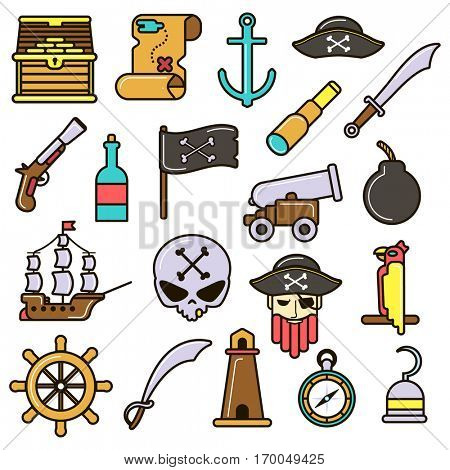 Pirate icons set: treasure chest and map, ship, anchor and hat, rum, flag and parrot, weapon, skull and bomb. Collection flat vector symbols. Illustration isolated on white background.