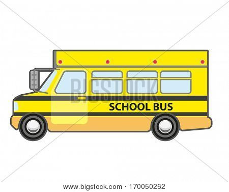 Yellow school bus icon. Vehicle for kids transportation. Children transport - schoolbus. Vector flat style illustration isolated on white background.