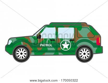 Military patrol car for transportation soldiers. Special transport equipment in green camouflage for army. Vector flat style illustration isolated on white background.