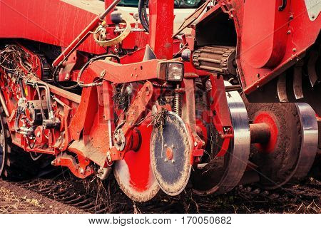 Tractor ploughing up the field. Beauty world