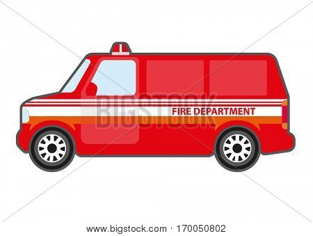 Vector icon of car fire department. Red auto with siren for aid and help. Firetruck rescue service. Vector flat style illustration isolated on white background.