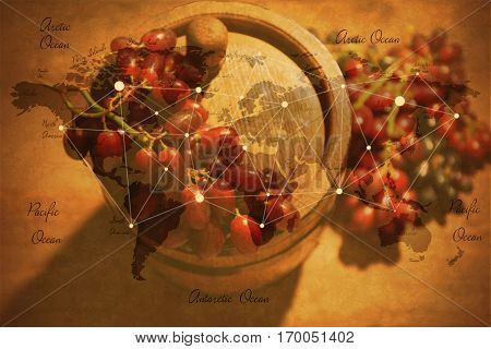Wine barrel and grape, closeup. World map on background