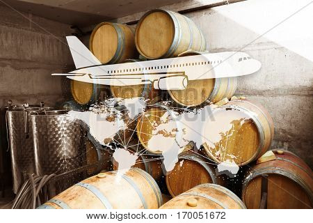 Wine barrels in cellar. World map and airplane icon on background. Delivery concept