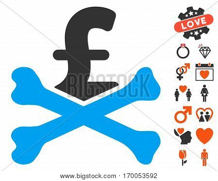 Mortal Pound Debt pictograph with bonus dating pictures. Vector illustration style is flat iconic elements for web design app user interfaces.