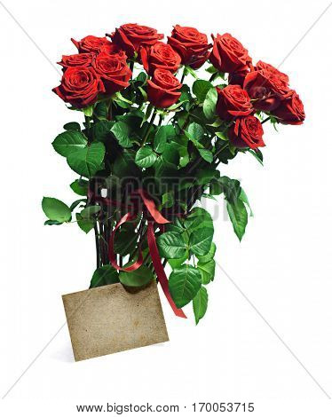 bunch of red roses with greeting card isolated on white