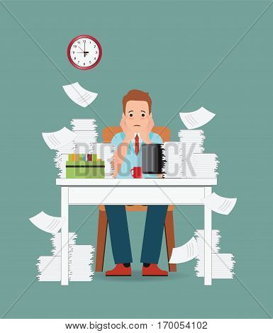 Stress situation on work Overworked and tired businessman or office worker sitting at his desk Business concept cartoon character Flat vector illustration.