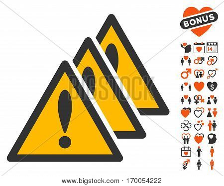 Multiple Problems pictograph with bonus dating clip art. Vector illustration style is flat iconic elements for web design app user interfaces.