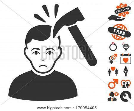 Murder With Hammer pictograph with bonus dating graphic icons. Vector illustration style is flat iconic elements for web design app user interfaces.