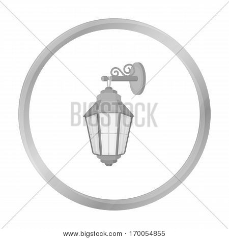 Street lantern icon in monochrome style isolated on white background. Light source symbol vector illustration