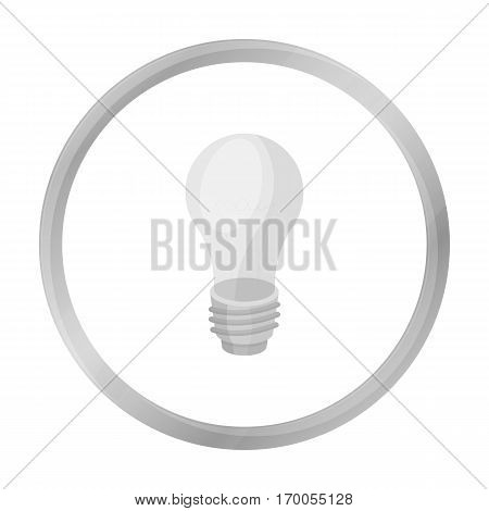 Lightbulb icon in monochrome style isolated on white background. Light source symbol vector illustration