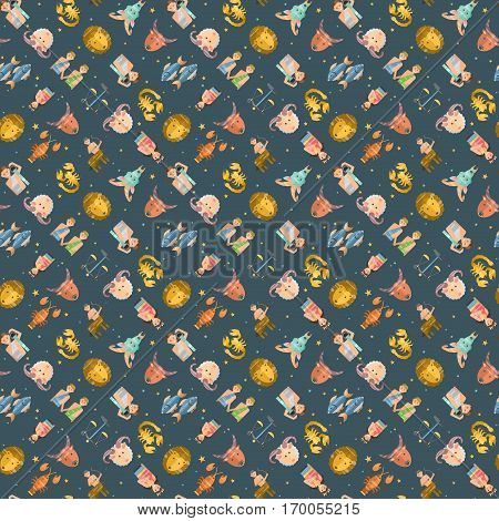 Zodiac signs flat seamless pattern of horoscope symbols star collection. Astrology vector aquarius libra capricorn cosmos astronomy calendar cover design.