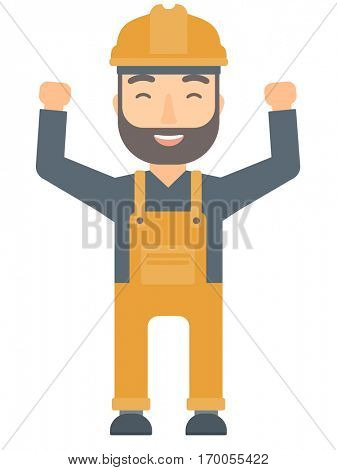 Caucasian hipster engineer standing with raised arms up. Engineer holding his arms up. Successful engineer standing with outstretched arms. Vector flat design illustration isolated on white background