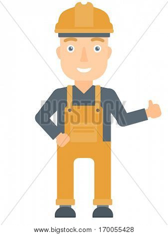 Young happy builder in hard hat giving thumb up. Smiling builder with thumb up. Caucasian builder in overalls and helmet giving thumb up. Vector flat design illustration isolated on white background.