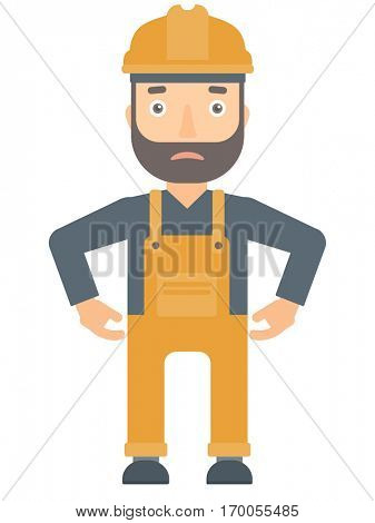 Depressed caucasian builder in hard hat and overalls. Sad hipster builder standing with his hands on hips. Builder having depression. Vector flat design illustration isolated on white background.