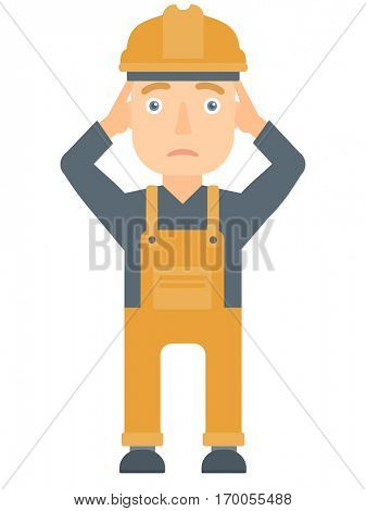Young sad caucasian builder clutching his head. Depressed builder grabs his head. Mad builder in hard hat holding his hands on a head. Vector flat design illustration isolated on white background.