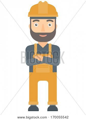 Caucasian hipster builder with the beard standing with arms crossed. Confident builder in hard hat. Cheerful smiling builder in overalls. Vector flat design illustration isolated on white background.
