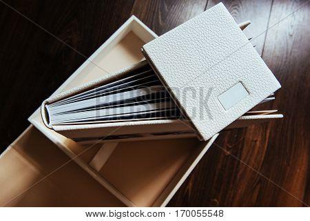 natural leather classic wedding photobook and album.