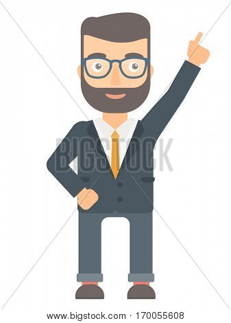 Caucasian businessman pointing up with his finger and having idea. Hipster businessman came up with business idea. Business idea concept. Vector flat design illustration isolated on white background.