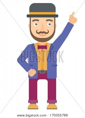Caucasian circus performer pointing up with finger and having an idea. Circus performer showing up by finger and indicating at something. Vector flat design illustration isolated on white background