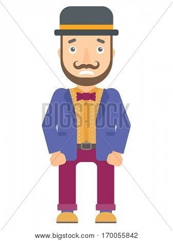 Caucasian circus performer feeling embarrassment. Embarrassed young circus performer. Young circus performer expressing embarrassment. Vector flat design illustration isolated on white background.