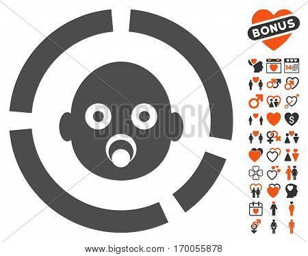 Newborn Diagram pictograph with bonus dating images. Vector illustration style is flat iconic symbols for web design app user interfaces.